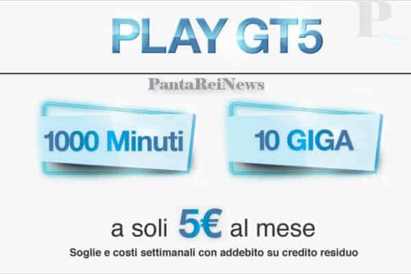3 PLAY GT5 1000 minuti 10 Giga a 5 euro