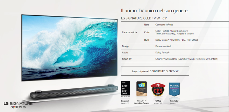 I TV OLED ultra-sottili LG W7 Smart TV