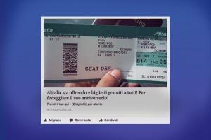 Biglietti gratis Alitalia nuova truffa su Facebook