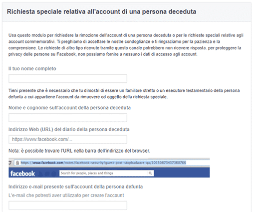 Come recuperare gli account di una persona deceduta