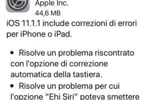 Apple iOS 11.1.1 rilasciato risolto problema con la tastiera