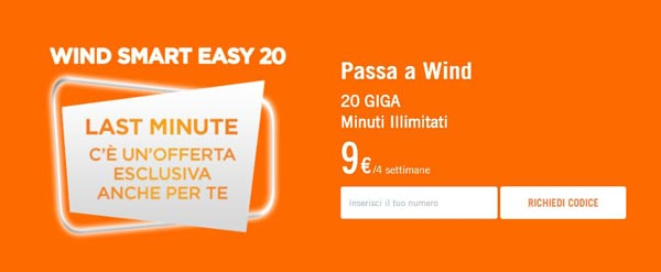 Wind Smart 9 Easy 20 minuti illimitati 20GB a 9€