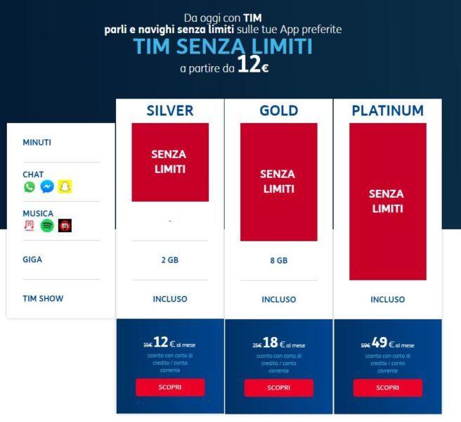 TIM Senza Limiti le nuove offerte con minuti SMS illimitati