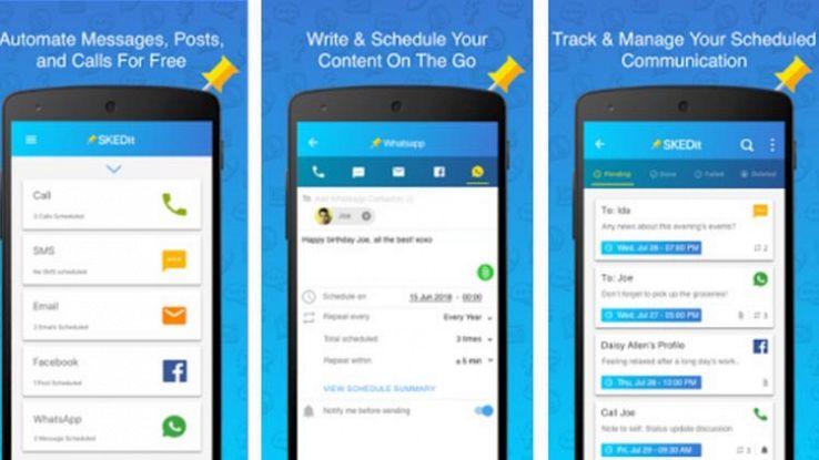 SKEDit app per pianificare i messaggi su WhatsApp e Facebook