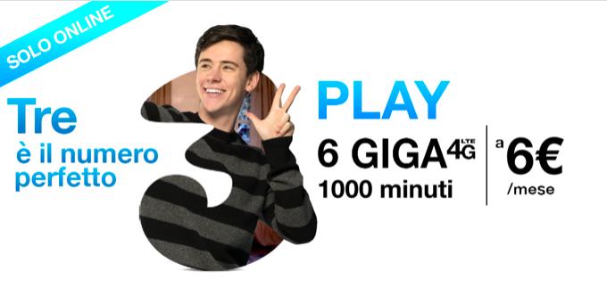 Passa a Tre e richiedi coupon Play Digital 6