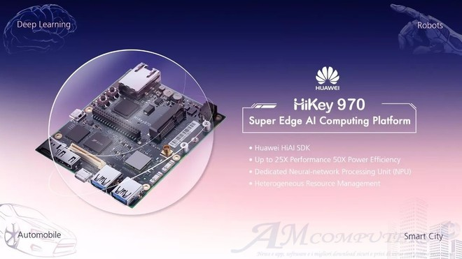 HiKey 970 devboard con Kirin 970 in stile Raspberry Pi