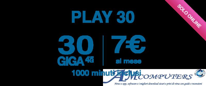 Offerta Tre Play 30 1000 Minuti e 30 GIGA
