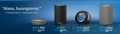Amazon Echo con Alexa intelligenza artificiale