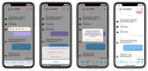 Facebook Messenger cancellazione dei messaggi inviati