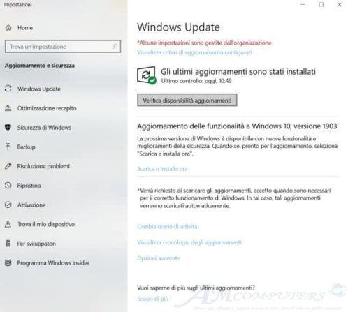 Windows 10: modificata la Verifica disponibilità aggiornamenti