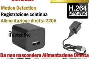 Caricabatteria Spia con Microcamera Nascosta e scheda micro SD