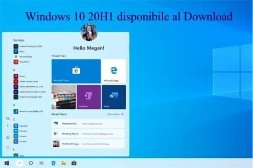 Windows 10 20H1 disponibile al Download