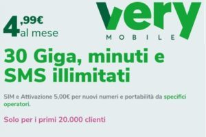 Very Mobile: 30 Giga minuti e SMS illimitati a 4,99 euro