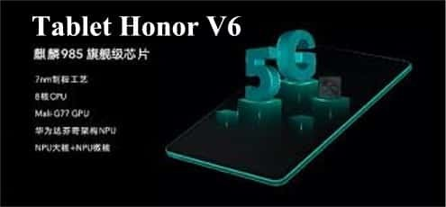 Tablet Honor V6 con supporto 5G Wifi 6
